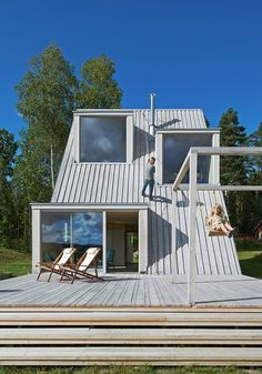 A fun rural house in Sweden.  The house is ecological and made from recycled materials.