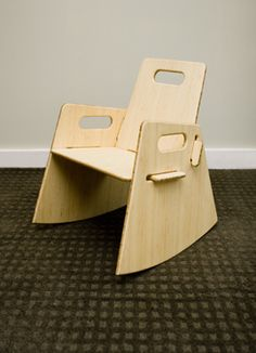 Bamboo Plywood slot together rocking chair. Sadly the link has been blocked as its suspicious but with care I'm sure a lot of DIYers could pull this off. It certainly is an eye-catcher ; Plywood Furniture, Diy Furniture, Furniture Design, Wood Projects, Woodworking Projects, Bamboo Plywood, Rocking Chair, Wood Crafts, Easy Diy