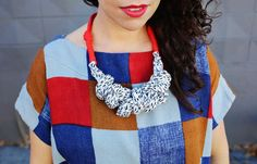 Refresh your spring wardrobe with a statement necklace made from fabric yarn that you can make yourself! Get the full tutorial at www.aBeautifulMess.com