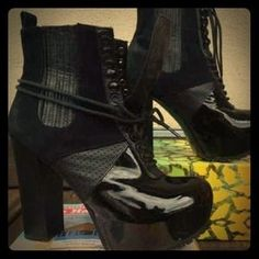 I just discovered this while shopping on Poshmark: Chunky Mix Media Lace up Booties. Check it out!  Size: 6
