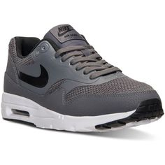 Nike Women's Air Max 1 Ultra Essentials Running Sneakers from Finish... ($110) ❤ liked on Polyvore featuring shoes, nike footwear, lined shoes, perforated shoes, nike and nike shoes