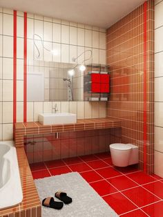 modern home interior featuring small bathroom designs small bathroom interior design equipped with red floor tiles and white furry rugs