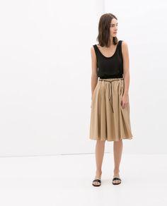 Image 1 of POPLIN SKIRT WITH ELASTIC WAISTBAND from Zara