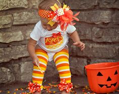 Baby Girl Halloween Outfit - Candy Corn Sweetie - bodysuit, leg warmers and Over The Top bow - yellow and orange chevron - Order by 10/16