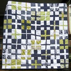 Me + You Cross Quilt in navy/lime