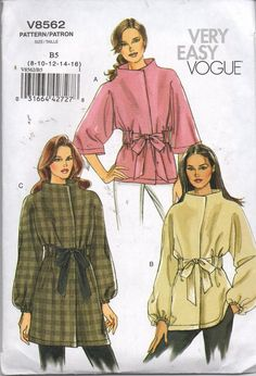 8562 Vogue Sewing Pattern Jacket in Three Lengths Self Tie Sz 8 - 16 Uncut Jacket Pattern, Neck Pattern, Vogue Sewing Patterns, Vintage Sewing Patterns, Line Jackets, Jackets For Women, Patron Vintage, Funnel Neck, Fashion Plates