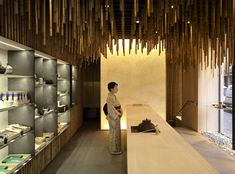 ceiling texture, could also be turned into a giant chime or instrument?   Jugetsudo, a Japanese tea shop in Paris.