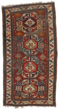 Kazak Rugs, Southwest Caucasus early 20th century Approximately 5 ft. 4 in. by 4 ft. 2 in.; 8 ft. 7 in. by 4 ft. 6 in.; 6 ft. 10 in. by 4 ft. 6 in. (1.62 by 1.27m.; 2.62 by 1.37m.; 2.08 by 1.37m.) (3 pieces) Persian Carpet, Persian Rug, Asian Rugs, Persian Pattern, Rustic Rugs, Tribal Rug, Colorful Rugs, Rugs On Carpet, Vintage Rugs