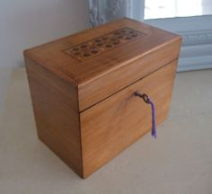 UNUSUAL & Charming SMALL VICTORIAN Parquetry STATIONERY BOX with Key, SATINWOOD