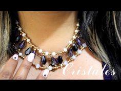 Como hacer un Collar de Billas y Cristales : Pekas Creaciones - YouTube