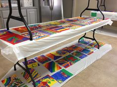 VBS craft storage: stack tables and cover all surfaces with plastic tablecloths.