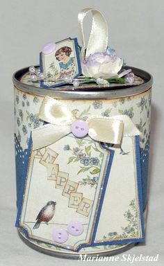 Category Archives: Altered Projects - ~ vintage papers made in Sweden Tin Can Crafts, Jar Crafts, Crafts To Make, Arts And Crafts, Altered Tins, Altered Bottles, Altered Art, Green Craft, Creation Deco