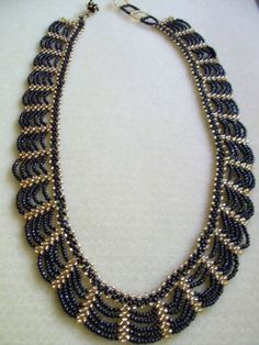Silky Black and Gold Handcrafted Seed Bead Swag Necklace