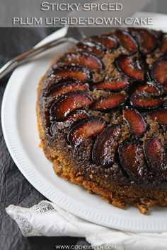 Sticky spiced plum upside-down cake and 16 years of blogging Plum Upside Down Cake, Ground Almonds, Cake Tins, Quick Bread, Dessert Recipes, Desserts, Celebration Cakes, Sweet Stuff, Breads