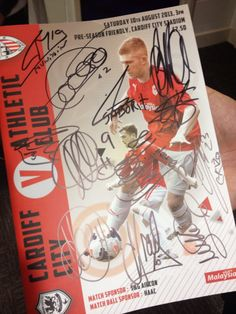 Cardiff City v Athletic Club programme, signed by the Athletic Club Squad, Aug 2013
