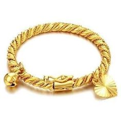 Prime Leader Fashion Jewelry Gold Plated Children S Bangle Birthday Gift Roll Rope Pattern With Heart And Bell Pendant Cuff Bracelets Inch Perimeter