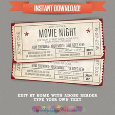 Movie Night Invitation  Movie Night Party  by PartyPrintables2go                                                                                                                                                                                 More