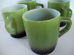 Fire KIng Coffee Cups Avocado Art Deco Cottage Chic Kitschy Retro Kitchen Coffee Tea Beverage Cups. $16.00, via Etsy.