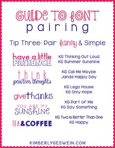 Font Pairing Guide #3  Pairing fun and simple fonts helps give some order to chaos. :)