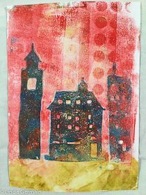gelatin and glycerin monoprint by linda germain- click through to learn more on how to gelatin print