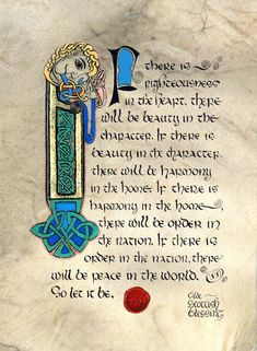 Celtic Card Company Matted Print Olde Scottish Blessing reproduction of the original painted by Medieval Illumination artist Kevin Dillon. Kevin makes his own paints make crushing precious stones just like medieval monks used to do. Scottish Quotes, Irish Quotes, Irish Sayings, Scottish Tattoos, Irish Celtic, Celtic Art, Celtic Dragon, Illuminated Letters, Illuminated Manuscript