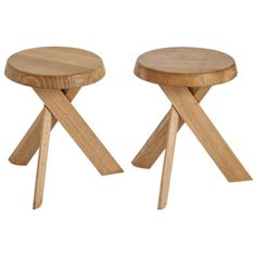 Pair of stools Pierre Chapo | From a unique collection of antique and modern stools at http://www.1stdibs.com/furniture/seating/stools/