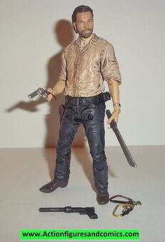 Todd McFarlane toys AMC's THE WALKING DEAD action figures 2014 series 6, RICK GRIMES 100% COMPLETE with all weapons, accessories, and parts condition: excellent - displayed only / collectable conditio