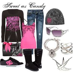 """Black & Hot Pink..."" by sweetlikecandycane on Polyvore"