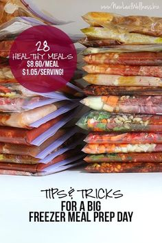 Tips and Tricks For a Big Freezer Meal Prep Day - 28 slow cooker freezer meals in 3 hours (and my 7 best tips for a freezer prep day) Slow Cooker Freezer Meals, Make Ahead Freezer Meals, Crock Pot Freezer, Dump Meals, Freezer Cooking, Crock Pot Cooking, Slow Cooker Recipes, Cooking Recipes, Easy Meals
