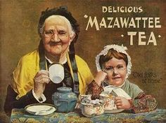 """John Lane Densham was the first to lead with the concept of packaging tea so customers could buy a 'brand' and he also led with advertising. The first packets of Ceylon tea where offered in 1884 and he came up with the name """"Mazawattee"""", perhaps based on the Hindi """"Mazaa"""", which means """"pleasure or fun,"""" and the Sinhalese """"vatta,"""" which means """"a garden."""" He then had the idea of using a standard picture to advertise the brand. The picture is called 'Old Folks at Home'"""
