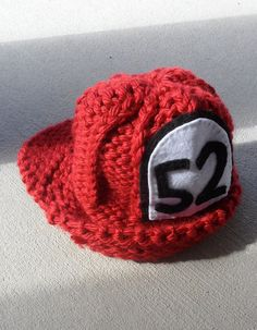 Fire fighter helmet photography prop newborn baby knit oft hat red. $25.00, via Etsy.