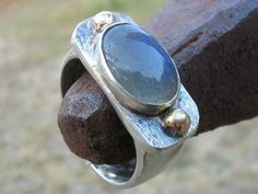 Silver and Labradorite ring with  solid Gold by rioritajewelry, $125.00