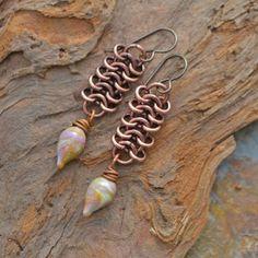 Scaley Slinky Chainmaille and Lampwork Earrings,  kristibowmandesign, kristi bowman design, kristi bowman, lampwork, glass, headpins