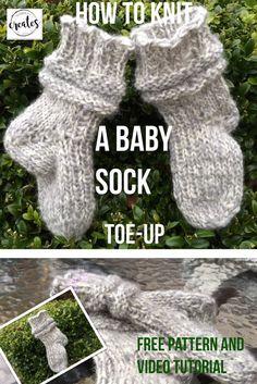 Kuinka neuloa helppo Baby-sukka-toe-up. Baby Booties Knitting Pattern, Crochet Mittens, Baby Knitting Patterns, Diy Crochet, Knitting Socks, Baby Patterns, Knitted Slippers, Knit Socks, Knitting Ideas