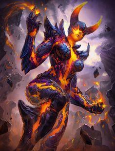 Smite Terra Igneous by Brolo on DeviantA… - Fantasy Figuren Anime Art Fantasy, Fantasy Kunst, Dark Fantasy Art, Fantasy Artwork, Demon Artwork, Fantasy Monster, Monster Art, Female Monster, Fantasy Character Design