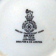 Royal Doulton Galaxy T.C.1038 china mark