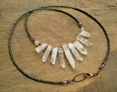 Rough Quartz Crystal Necklace emerald green by ArtifactsEtCetera, $38.00