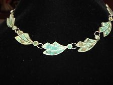 VINTAGE INLAYED CRUSHED TURQUOISE STONE STERLING SILVER NECKLACE TAXCO MEXICO