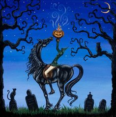 Whimsical Headless Horseman Sleepy Hollow Original Art Painting Halloween EHAG