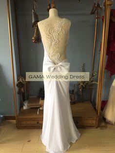 Scoop Neck Floor Length Sheath/Column Sheer Illusion Back Pleated Evening Dress…