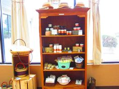 Bath/Shower products in our store with fedora hats on top.