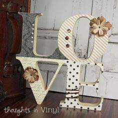 Wood letters and shapes with hundreds of unique possibilities! Decorating your home has never been easier. Wood letters for any occasion! Decoupage Letters, Mdf Letters, Painting Wooden Letters, Craft Letters, Painted Letters, Wood Letter Crafts, Unfinished Wood Crafts, Vinyl Crafts, Craft Kits