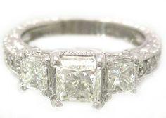 Princess cut diamond engagement ring antique art deco by KNRINC, $2388.00