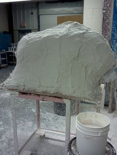 Plastered sculpture before splitting it open to clean it out