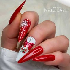 Amazing red Christmas stiletto nails set with rhinestones and an accent snowflake nail! Nails The Cutest and Festive Christmas Nail Designs for Celebration Cute Christmas Nails, Christmas Manicure, Christmas Nail Designs, Holiday Nails, Nail Art Designs, Acrylic Nail Designs, Acrylic Nails, Red Stiletto Nails, Red Nails