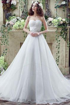 Schulterfreier Ausschnitt Leben bodenlanges Brautkleid - Bild 1