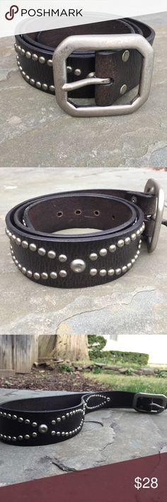 "Lucky Brand studded belt Great looking dark brown leather with nickel tone buckle and studs. Brand new condition. Holes run from 32""!to 36"". 1 3/4"" wide. Lucky Brand Accessories Belts"