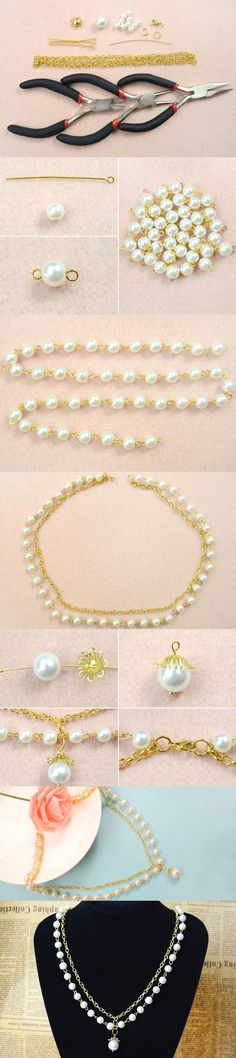 Office Lady Fashion - How to Make Long White Pearl and Golden Chain Necklace from LC.Pandahall.com