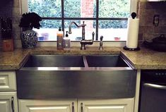 undermount double bin, stainless steel kitchen sink...with a top curved faucet...this will be mine!