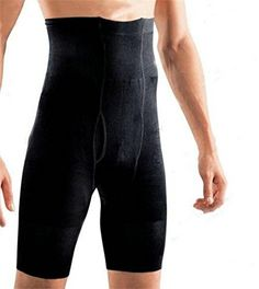 Showbellia Mens Black Body Slimming Shorts Waist Training Tummy Control Leg Belly Shaper Underpant Underwear Compression Pants Stretch Tight Pants * Visit the image link more details.